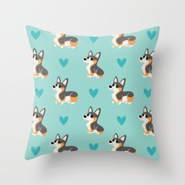 Tri-Color Corgi Pups Throw Pillow