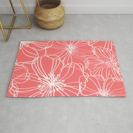 Line Art, Floral Prints, Coral Pink and White, Minimalist Art Rug