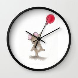 Little mouse with red balloon Wall Clock