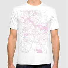 Amsterdam White on Pink Street Map White MEDIUM Mens Fitted Tee
