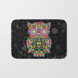 Owl Zentangle Floral   Bath Mat