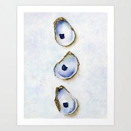 Three Oysters Watercolor Print Art Print