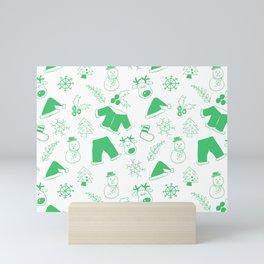 Santa Deer and Snowman Christmas Pattern Green Mini Art Print