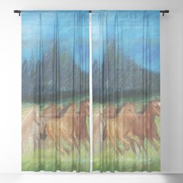 Colorful Horses Oil Painting  | Home Decor.  Sheer Curtain