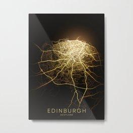 edinburgh Scotland city night light map Metal Print