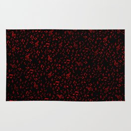 dark red music notes Rug