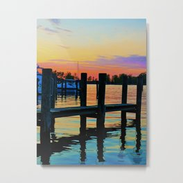 Marina dock sunset Metal Print