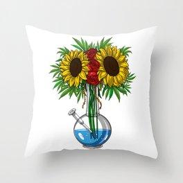 Weed Bong Vase Throw Pillow