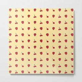 Cherry & Strawberry Pattern Metal Print