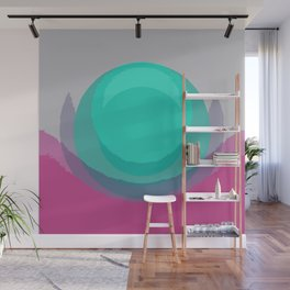Pearl Lily Abstract Magenta Mint Wall Mural