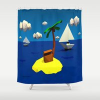 low poly Shower Curtains featuring Low-Poly Treasure Island by Jorge Antunes