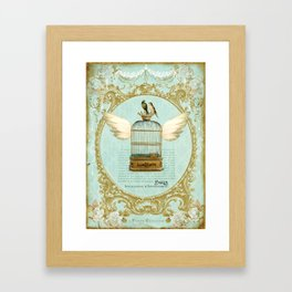 Flying Bird Cage Framed Art Print
