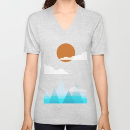 Sun, Clouds and Mountains Unisex V-Neck