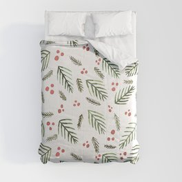 Christmas tree branches and berries - vintage Comforters
