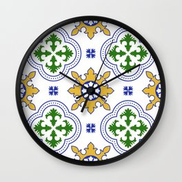 Traditional hand painted Portuguese tile Wall Clock