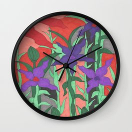 Twilight Sun Garden Floral Art Wall Clock