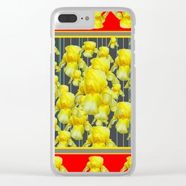 CLASSY RED-GREY YELLOW IRIS ABUNDANCE Clear iPhone Case