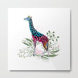Happy Spring Giraffe Metal Print