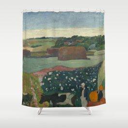 Paul Gauguin - Haystacks in Brittany Shower Curtain