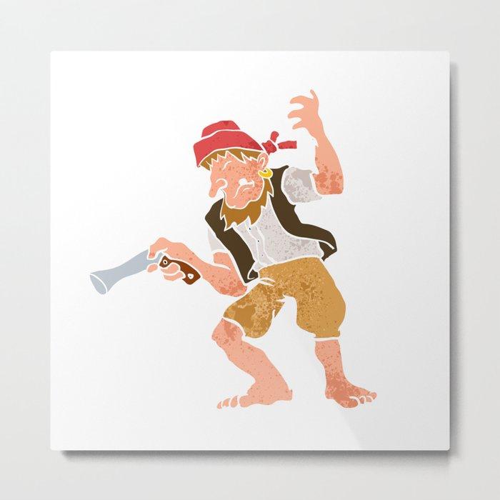 Pirate with Gun Cartoon Metal Print
