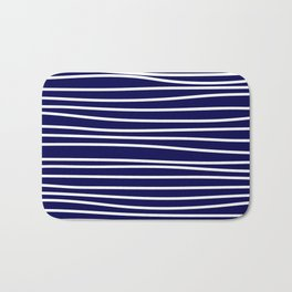 Navy Blue & White Maritime Hand Drawn Stripes- Mix & Match with Simplicity of Life Bath Mat