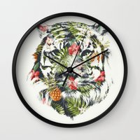tiger Wall Clocks featuring Tropical tiger by Robert Farkas