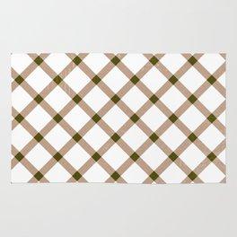 Green White Tan Checkered Argyle Rug