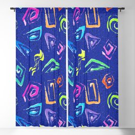 Surf Spiral Shapes in Neon Periwinkle Blackout Curtain