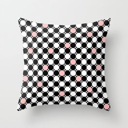 Geometrical abstract pink coral black white polka dots Throw Pillow