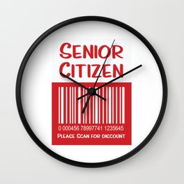 Senior Citizen T-Shirt Gift Please scan for discount Wall Clock