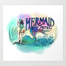 Mermaid Motel Art Print