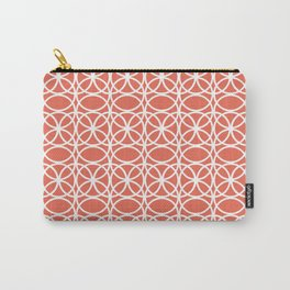 Pantone Living Coral and White Rings, Circle Heaven 2, Overlapping Ring Design - Digital Artwork Carry-All Pouch