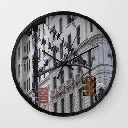 Birds On Power Line  Wall Clock