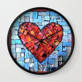 Valentine Heart Mosaic Wall Clock