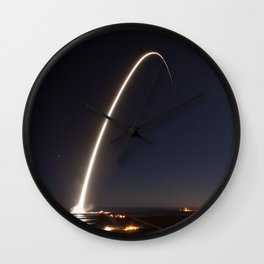 SpaceX Launch At Night Wall Clock