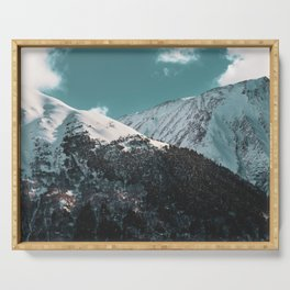 Snowy Mountains Under Teal Sky - Alaska Serving Tray