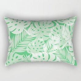 Tropical Shadows - Vibrant Green / White Rectangular Pillow