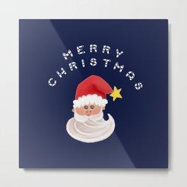 Merry Christmas & Santa - Navy Blue Metal Print