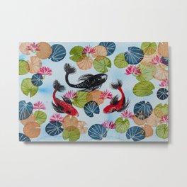 Koi Fish Pond Metal Print