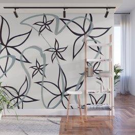 graffiti flowers : black Wall Mural