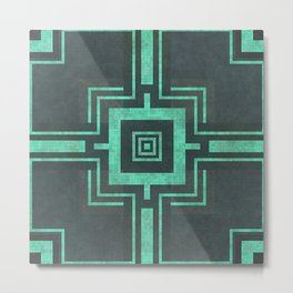 Old Mosaic Tiled Pattern - Tranquil Turquoise Teal On Black Metal Print