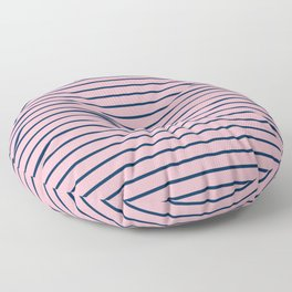 Pink and Navy Blue Horizontal Stripes Floor Pillow