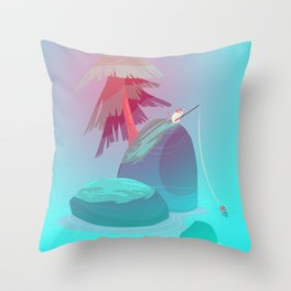 Island of Calm and Colors - Childrens illustration Throw Pillow