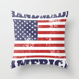 Handmade in America Rubber Stamp Throw Pillow
