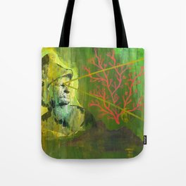 Roman Bust and Mountain (Old Wise Eyes) Tote Bag