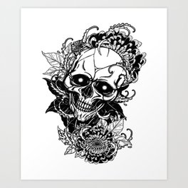 Skull wreath, custom gift design Art Print