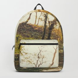 Lovely young woman in the Natural Park of Ticino Backpack