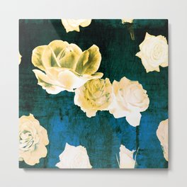 Gold Roses on Distressed Canvas Metal Print