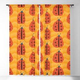 Orange Ladybug Autumn Leaf Blackout Curtain