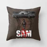 sam smith Throw Pillows featuring Sam by Six Eyed Monster